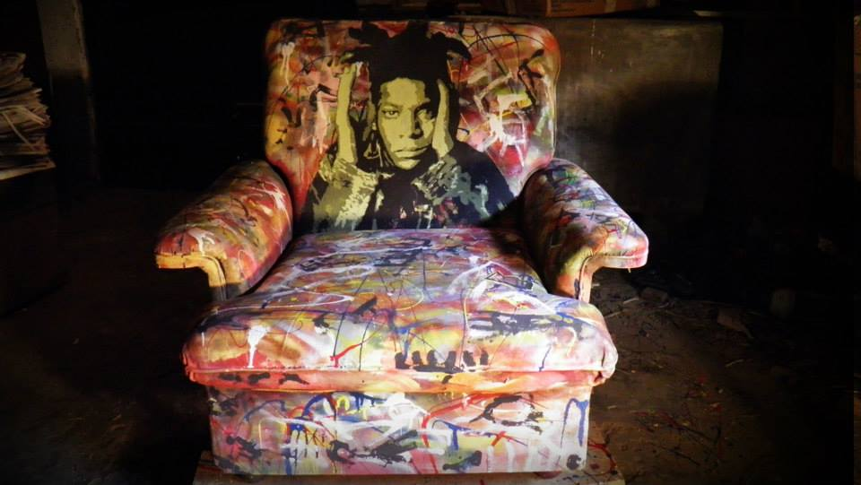 basquiat painted sofa Jean-Michel Basquiat portrait